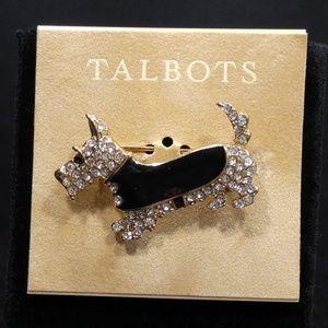 Talbots Scottie Dog Rhinestone Black Enamel Brooch